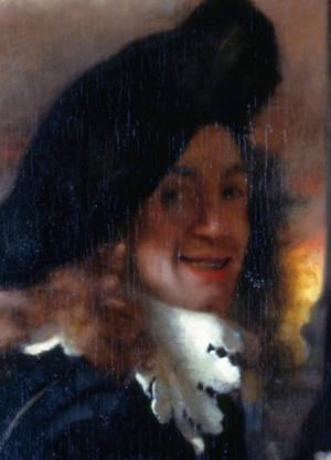 Detail of the painting The Procuress (c. 1656), considered to be a self portrait by Vermeer.